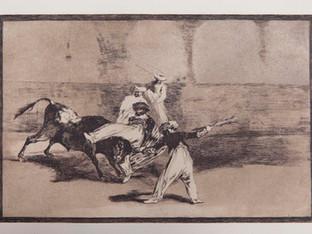 """""""Cogida de un moro estando en la plaza """". Serie La Tauromaquia. 1815 - 1816. Tirada de 1983, Calcografía Nacional.  Aguafuerte. y aguatinta. Huella 24x35 cms."""