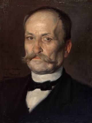 "JOSÉ MONGRELL TORRENT (Valencia, 1874 – Barcelona, 1937) ""El tío Anselmo"" (hacia 1910). Óleo sobre tela, 50x39 cms."