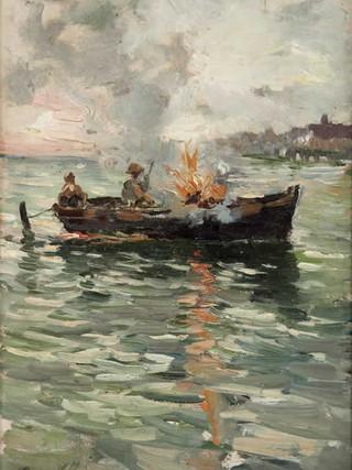 """RICARDO DE VILLODAS Y DE LA TORRE (Madrid, 1846 – Soria, 1904) """"Fuego en la barca"""" (hacia 1870). Óleo sobre tela, 24x17 cms."""