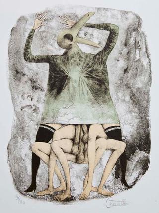 """Escena erótica"" 1966-1969. Litografía 30 x 23 cm (huella)"