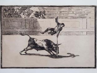 """Ligerez"". Serie La Tauromaquia. 1815 - 1816. Tirada de 1983, Calcografía Nacional.  Aguafuerte. y aguatinta. Huella 25x35 cms."