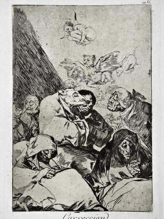 """""""Corrección"""" Grabado 46 de la serie Los Caprichos 1799. Décima edición (1918) Aguafuerte y aguatinta 22 x 15,3 cms. (huella)"""