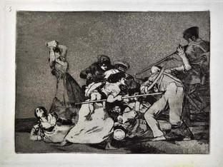 """""""Y son fieras"""". Grabado 5 de la serie Los desastres de la guerra 1810 - 1815. Primera edición (1863) Aguafuerte. Huella 15x20 cm"""