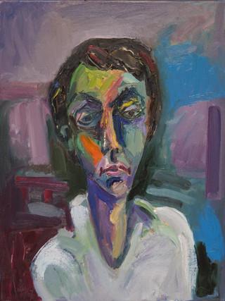 """Ginés Cervantes Ballesta (Huércal-Overa,1937) """"Cabeza de joven"""". 2007. Óleo sobre lienzo, 61x46 cms."""