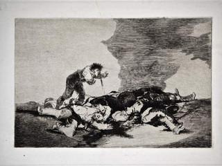 """""""Para eso habéis nacido"""". Grabado 12 de la serie Los desastres de la guerra 1810 - 1815. Primera edición (1863) Aguafuerte. Huella 15x20 cm"""