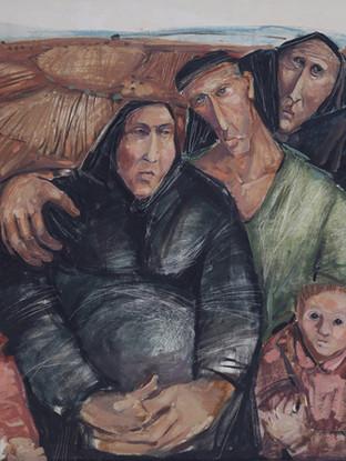 """Jesús de Haro Martínez (Huércal-Overa, 1949) """"Pueblerinos"""". 1973. Óleo sobre tabla, 92x121 cm."""
