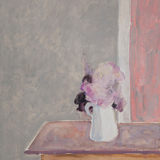 """Jarrón con flores"" 1996. Óleo sobre lienzo 100x70 cms."