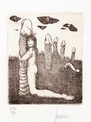 """PETER PAONE (1936) Serie realizada junto a Castellón """"Alfabeto Erótico. Letra L"""" 1969-1971. Aguafuerte y aguatinta 11 x 9 cm (huella)"""