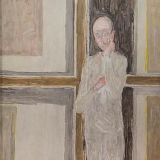 """""""Visita en el estudio"""" 1996. Óleo sobre lienzo 130x97 cms."""