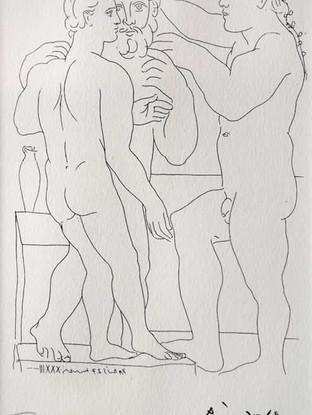 """Pablo Ruiz Picasso (Málaga, 1881 – Mougins, 1973) """"Deus hommes sculptes"""" (Suite vollard, LII) 1933. Edición de 1973. Litografía, 27x17 cms."""