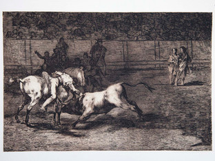 """""""Mariano Ceballos, alias El ndio, Mata al toro desde su caballo"""". Serie La Tauromaquia. 1815 - 1816. Tirada de 1983, Calcografía Nacional.  Aguafuerte. y aguatinta. Huella 25x35 cms."""