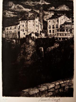 """Ricardo Baroja y Nessi (Minas de Río Tinto, Huelva, 1871 - Vera de Bidasoa, Navarra, 1953) """"Vista de Cuenca"""" C.1930 Aguafuerte y aguatinta bruñida. 37,5x27,5 cms."""