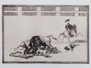 """""""Echan perros al toro"""". Serie La Tauromaquia. 1815 - 1816. Tirada de 1983, Calcografía Nacional.  Aguafuerte. y aguatinta. Huella 24x35 cms."""