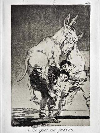 """""""Tú que no puedes"""" Grabado 42 de la serie Los Caprichos 1799. Décima edición (1918) Aguafuerte y aguatinta 22 x 15,3 cms. (huella)"""