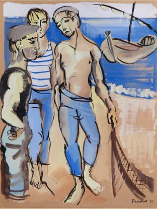 """Carlos Pradal Rodríguez (Madrid 1925, Tolousse 1988) """"Pescadores"""". 1955. Gouache sobre papel. 64x49 cms."""