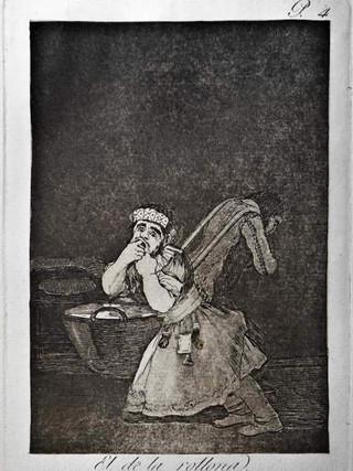 """""""El de la Rollona"""" Grabado 4 de la serie Los Caprichos 1799. Décima edición (1918) Aguafuerte y aguatinta 22 x 15,3 cms. (huella)"""