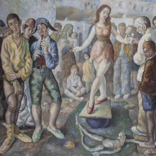 """""""Títeres en la calle"""" 1947. Óleo sobre lienzo 200x200 cms."""
