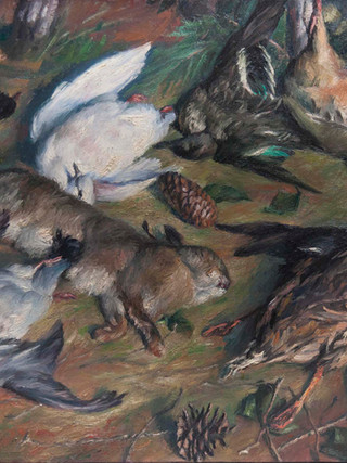 "José de Togores i Llach (Cerdanyola del Vallés, 1893 - Barcelona, 1970). ""Bodegón con piezas de caza"". 1962. Óleo sobre lienzo. 92x65 cms."