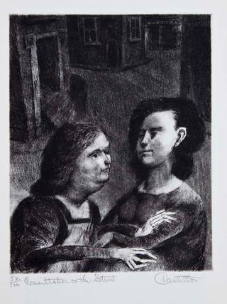 """""""Conversación en la calle"""" 1967. Aguafuerte y aguatinta 25 x 19'5 cm (huella)"""