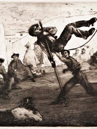 "Ricardo Baroja y Nessi (Minas de Río Tinto, Huelva, 1871 - Vera de Bidasoa, Navarra, 1953) ""Salto con pértiga"" C.1910 Aguafuerte y aguatinta bruñida. 13,5x21,5 cms."