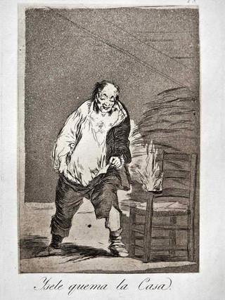 """""""Y se le quema la casa"""" Grabado 18 de la serie Los Caprichos 1799. Décima edición (1918) Aguafuerte y aguatinta 22 x 15,3 cms. (huella)"""