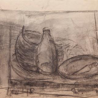 """""""Apunte para bodegón"""" 1979. Carbón sobre papel 40x40 cms."""