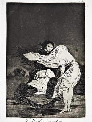 """""""Mala noche"""" Grabado 36 de la serie Los Caprichos 1799. Décima edición (1918) Aguafuerte y aguatinta 22 x 15,3 cms. (huella)"""