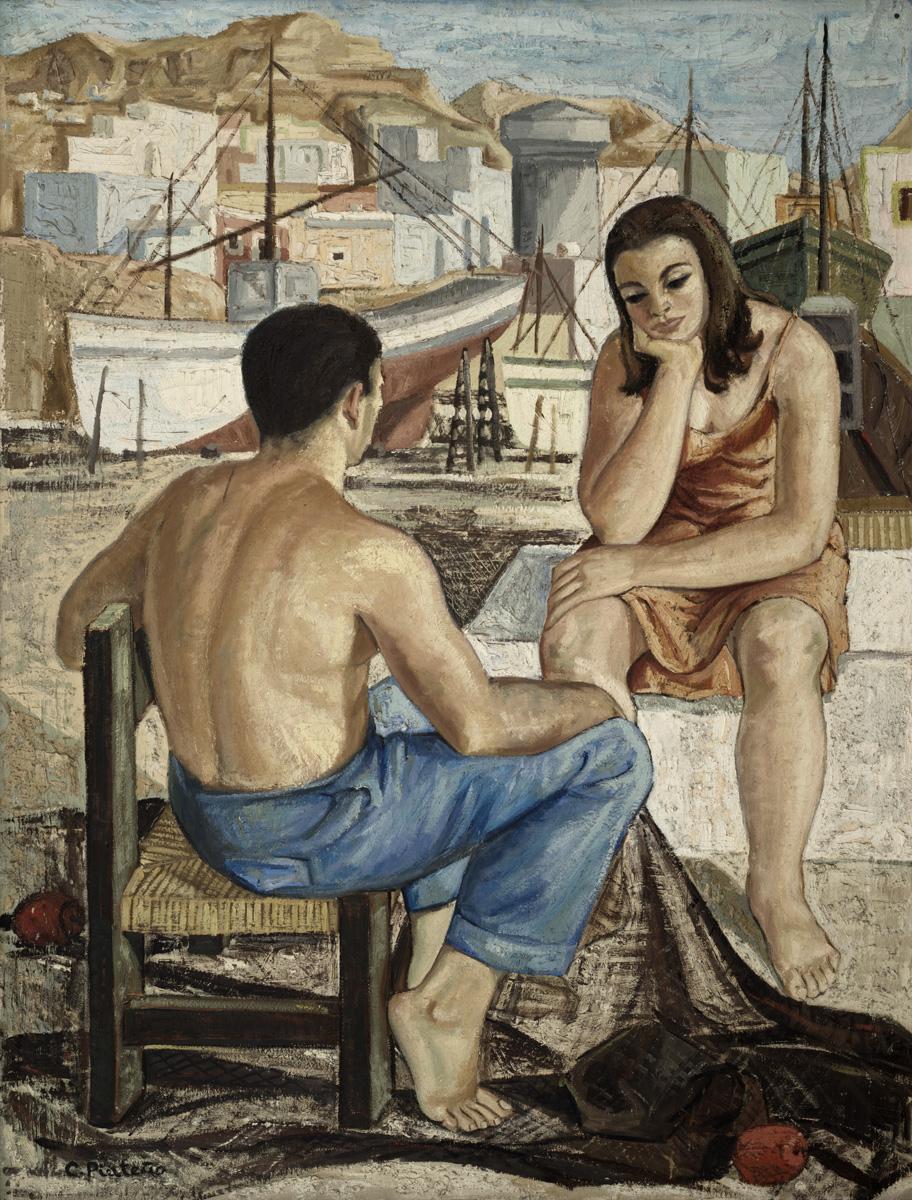 PINTEÑO_Pareja_en_el_puerto_circa_1970_oleo-lienzo