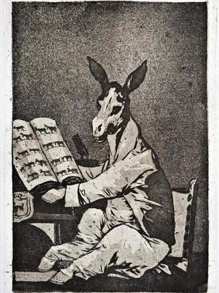 """""""Hasta su abuelo"""" Grabado 39 de la serie Los Caprichos 1799. Décima edición (1918) Aguafuerte y aguatinta 22 x 15,3 cms. (huella)"""