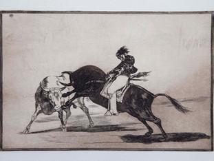 """""""El mismo Ceballos montado sobre otro toro, quiebra rejones en la plaza de Madrid"""". Serie La Tauromaquia. 1815 - 1816. Tirada de 1983, Calcografía Nacional.  Aguafuerte. y aguatinta. Huella 24x35 cms."""