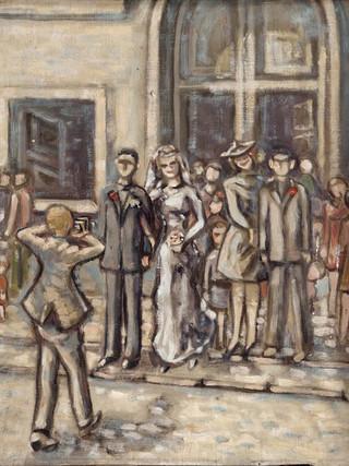 "Ángel Ibáñez Ceba (Almería, 1946) ""El casorio"". 1965. Óleo sobre lienzo. 39x30 cms."