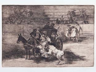 """""""Combate en un coche enjaezado con dos mulos"""". Serie La Tauromaquia. 1815 - 1816. Tirada de 1983, Calcografía Nacional.  Aguafuerte. y aguatinta. Huella 24x35 cms."""