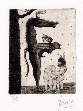 """PETER PAONE (1936) Serie realizada junto a Castellón """"Alfabeto Erótico. Letra F"""" 1969-1971. Aguafuerte y aguatinta 11 x 9 cm (huella)"""