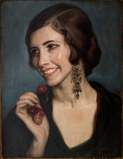 PEDRO ANTONIO Comiendo cerezas 1928 oleo-tabla