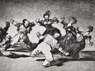 """""""Disparate alegre"""". Serie Los Disparates. 1815 - 1823. Primera edición (1864) Aguafuerte. y aguatinta. Huella 21x32 cms."""