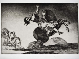 """""""El caballo raptor"""". Serie Los Disparates. 1815 - 1823. Primera edición (1864) Aguafuerte. y aguatinta. Huella 21x32 cms."""