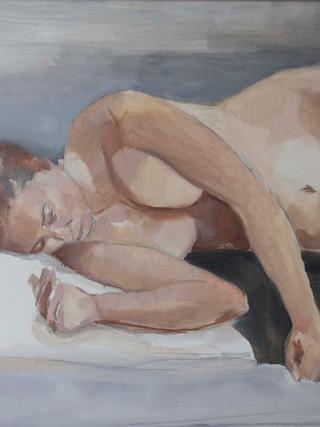 """JOSE FERNANDO MELLADO PARDO (Albox, 1983).""""Desnudo acostado"""" (2015). Oleo sobre lienzo. 92x73 cms."""
