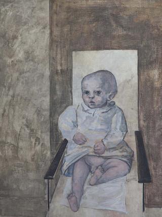 "Francisco Capulino,Capuleto (Almería, 1928-2004) ""Niño"".1956. Óleo sobre lienzo. 135 x 85 cm."