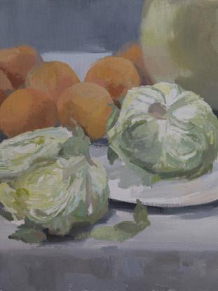 """MARÍA TERESA DURÁ SEPULCRE """"Bodegón en verde y naranja"""" (2015). Acrílico sobre lienzo, 50x50 cm."""