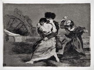 """""""No quieren"""". Grabado 9 de la serie Los desastres de la guerra 1810 - 1815. Primera edición (1863) Aguafuerte. Huella 15x20 cm"""