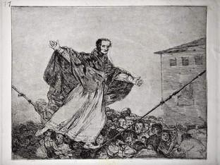 """""""Que se rompe la cuerda"""". Grabado 77 de la serie Los desastres de la guerra 1810 - 1815. Primera edición (1863) Aguafuerte. Huella 15x20 cms."""