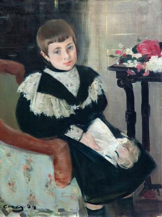 """RAMÓN CASAS I CARBÓ (Barcelona, 1866 - 1932). """"Retrato de la niña María Navas"""". 1894. Óleo sobre lienzo. 60x49 cms."""