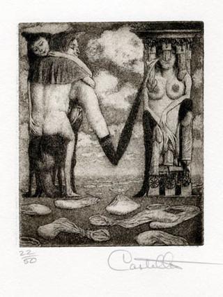 """""""Alfabeto Erótico. Letra M"""" 1969-1971. Aguafuerte y aguatinta 11 x 9 cm (huella)"""