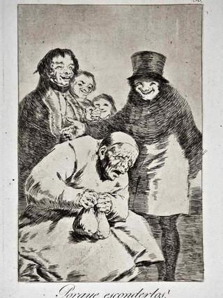 """""""¿Por qué esconderlos?"""" Grabado 30 de la serie Los Caprichos 1799. Décima edición (1918) Aguafuerte y aguatinta 22 x 15,3 cms. (huella)"""