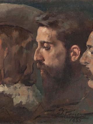 """IGNACIO PINAZO CAMARLENCH (Valencia, 1849 – Godella, 1916). """"Tres retratos masculinos de perfil (1888). Oleo sobre lienzo. 44x62 cms"""