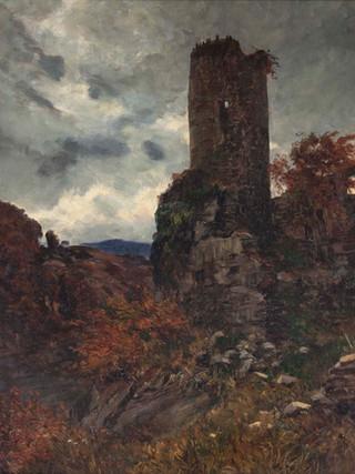 "ANTONIO MUÑOZ DEGRAIN (Valencia, 1840 – Málaga, 1924). ""Ruinas al atardecer"" (1906). Óleo sobre lienzo. 77x80 cms"