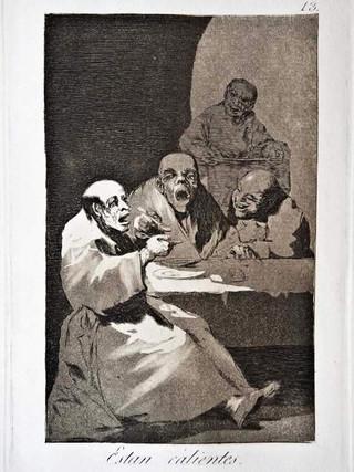 """""""Están calientes"""" Grabado 13 de la serie Los Caprichos 1799. Décima edición (1918) Aguafuerte y aguatinta 22 x 15,3 cms. (huella)"""