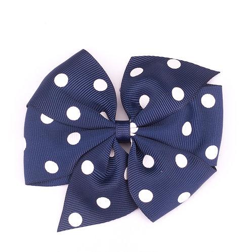 Large Polka Dot Pinwheel Bow Navy Blue