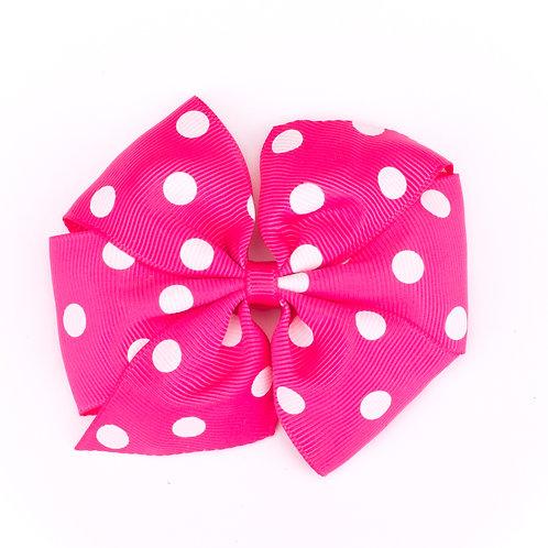 Large Polka Dot Pinwheel Bow Bright Pink