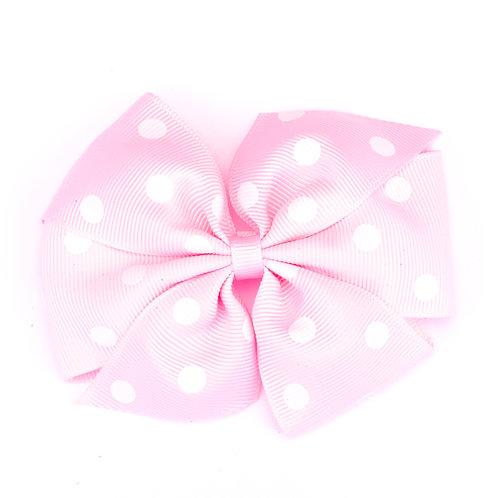 Large Polka Dot Pinwheel Bow Pale Pink